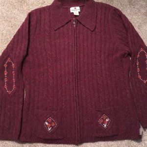 Woolrich Burgundy Embroidered Full Zip Sweater M